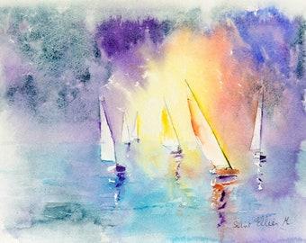 Original boats watercolor, ship watercolor, sunset watercolor,boats watercolor, ship painting, sea Watercolour, Watercolor