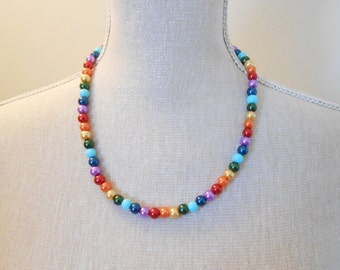 Rainbow Pearl Necklace - Rainbow Necklace - Wedding Jewelry - Pearl Jewelry - Bridal Jewelry - Wedding Necklace - Bridesmaid Necklace