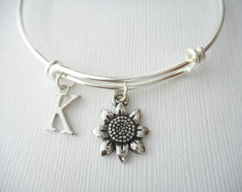 Sunflower, Initial Bangle/ Party, Nature Jewelry, party favor, Flower Jewelry, happy, Sunflower Charm, bridal, gifts for her, present, love