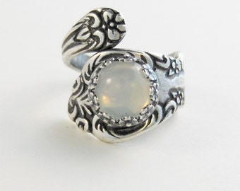 Moonstone Spoon Ring,Spoon Ring, Ring,Moonstone Ring,Moonstone,Anitque Spoon Ring,Woodland Ring,Moonstone Jewelry,,Silver,valleygirldesigns