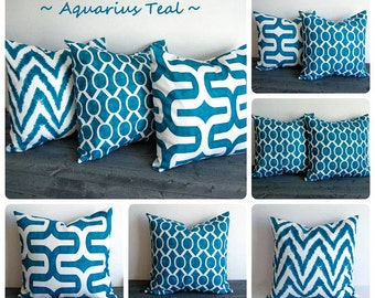 Teal pillow cover One cushion cover Aquarius Teal blue green throw pillow sham