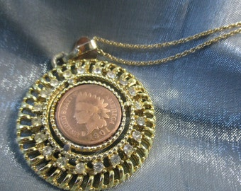 1901 Indian Head Penny with CZ's Necklace