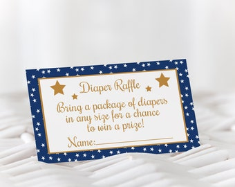 Star Diaper Raffle / Twinkle Twinkle Diaper Raffle / Blue and Gold Diaper Raffle / Boy Baby Shower / Diaper Raffle Ticket / Instant Download