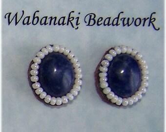 Genuine Lapis gemstone earrings with beadwork