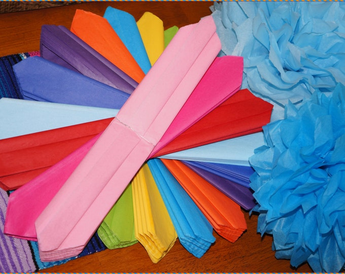 Paper Poms 14 Inch with Organza Ribbon for Hanging