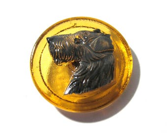 Czech Terrier Button Hand Painted Amber Glass Czech Glass Button One (1) Czech Glass Dog Terrier Vintage Button Jewelry Supplies (J228)