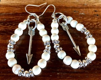 Handmade large hoop statement earrings in white turquoise and tibetan silver beads with center arrow charm