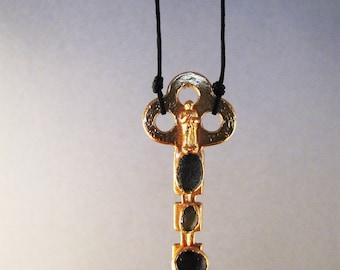 vintage flat key pendant, electroformed jewelry, 24K gold plated copper pendant, beach stone pendant, miniature figure pendant, boho pendant