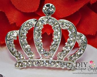 Crystal Flatback Princess CROWNS Rhinestone buttons Flat Back Metal Embellishment Hair Bow Headbands Supplies flower centers 28mm 813053