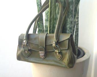 Vintage olive green leather bag