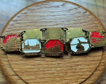 Dutch vintage enamel places link bracelet