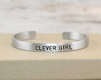 Clever Girl, Geek Gift, Hand-Stamped Bracelet, Aluminum Bangle