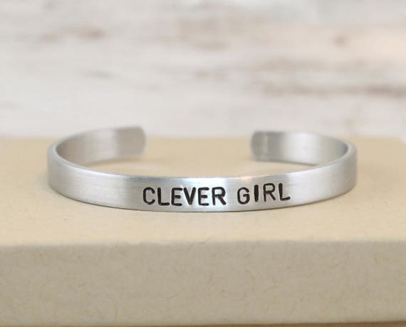 Clever Girl, Geek Gift, Hand-Stamped Bracelet, Aluminum Bangle