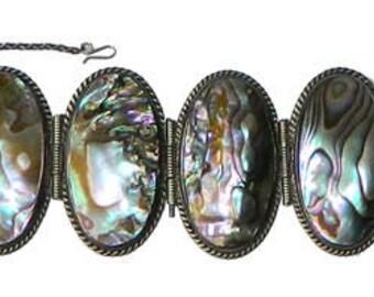 Vintage Mexican Sterling Silver Abalone Bracelet