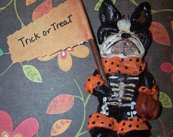 Vintage Nostalgic Boston Terrier Dog Halloween Skeleton Ornament Ooak Folk Art