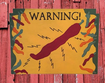 Hand-Painted Chile Pepper Restaurant/Kitchen Vintage-Style Folk Art Sign