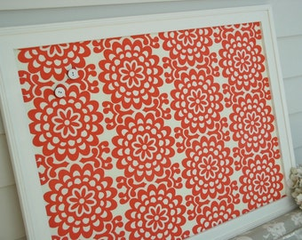 Large Bulletin Board Memo Board - Fabric Covered Magnetic Board - Cottage Coral Red Fabric Message Board 20.5 x 26.5 Handmade Wood Frame