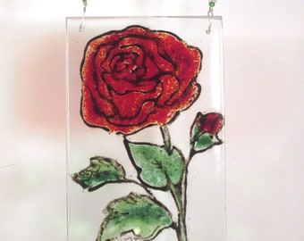 red rose glass ornament fused glass OOAK