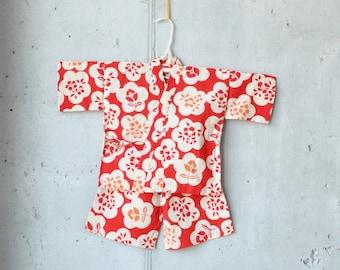 BABY KIDS KIMONO jinbei    Japanese casual kimono    flowers + red    baby gift, birthday    summer shirt + pants    hand-dyed cotton