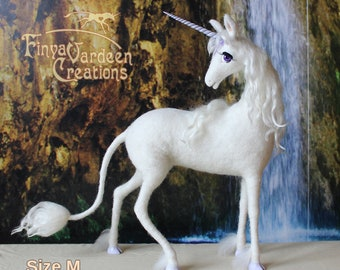 Unicorn figure-Needle felted wool-inspired by the film The Last Unicorn-(pre-order-will be made for you separately)