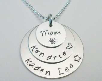 3 Sterling Silver Hand Stamped Personalized Mothers Name Pendants ~ Round Custom Charms  ~ Layered Charm