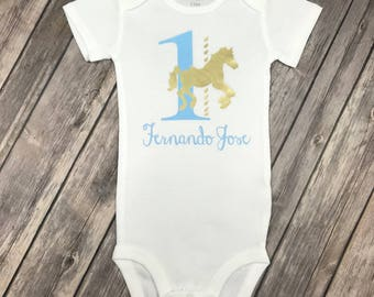 Any Age/Colors - Light Blue and Gold Birthday Onesie / Shirt with Age, Carousel & Name, One Year Old, 1 Year Old, Merry Go Round, Carnival