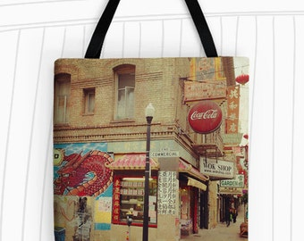 San Francisco's Chinatown Tote Bag. Art Tote Bag, Reusable Bags, Grocery Bag, Large Tote Bag, Photo Tote, Travel Bag, Urban Photography