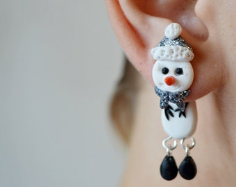 christmas earrings,christmas ear jacket,christmas fake gauge,snowman earrings,Christmas jewelry,xmas ear jacket,funny double sided earring