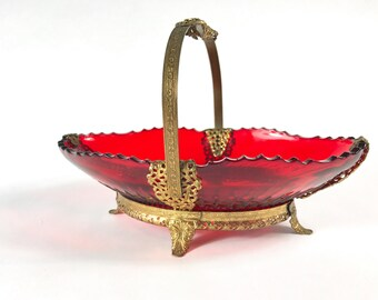 Ruby Red  New Martinsville Glass Bride's Basket with Ormolu Feet and Handle in Radiance Pattern Celery Bowl Mint Dish