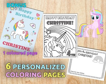 Unicorn Birthday Party Coloring Pages / Personalized / Birthday Party / Digital / PDF