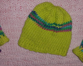 Lime green newborn hat and mitts loom knit