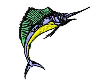Marlin Fish Embroidery Design, Instant Download, 4x4 Hoop Size,  8 Formats