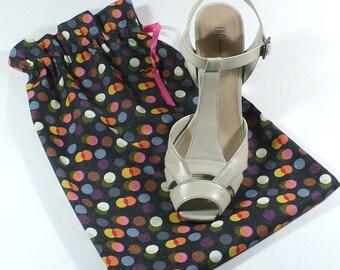 Shoe Bags, Charcoal, multi color dots, travel, organize, shoe storage, set of 2, cotton