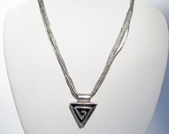 Multi Strand (15) Liquid Sterling Necklace with Modernist 3-D Triangle Pendant - Mexico - 2089G