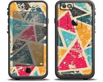 The Chipped Colorful Retro Triangles Apple iPhone X - 7 - 8 - LifeProof Case Skin Set (Other Models Available!)