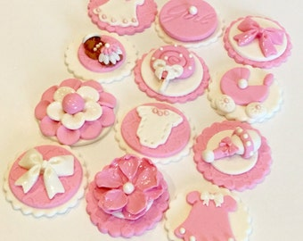 Baby Girl Fondant Cupcake/Cake/Cookie/Brownie Toppers. Set of 12