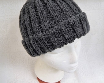 Hand Knitted Adult Ribbed Hat in Charcoal Gray with Ample Turn Back Brim Free Ship in US