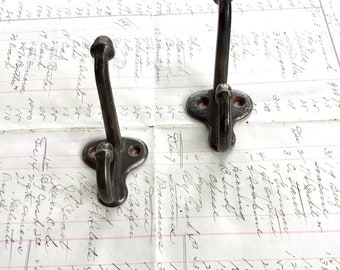 Antique Coat Hook set of 2 Vintage Farmhouse Cast Iron Acorn Finial
