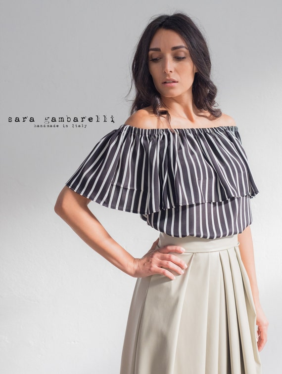 OFF SHOULDER TOP, bardot top, off the shoulder white and black top, evening top, honeymoon top, ruffled top, striped silk top, gipsy top