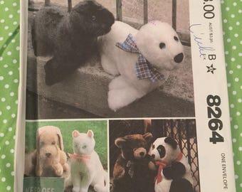 McCalls 8264, Stuffed Animals, Seal, Dog, Cat, Bear, Panda