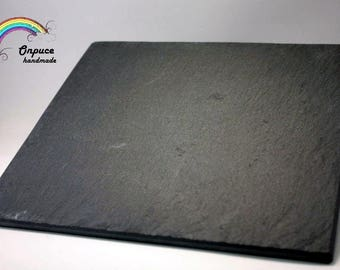 Black slate square platter - made of 100% original italian slate - craftsmanship - gift for special day or occasion