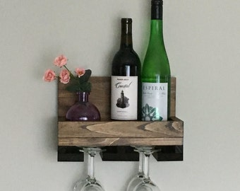 "12"" (Narrow/Short) Rustic Wood Wine Rack Shelf & Stemware Glass Holder Organizer Unique"
