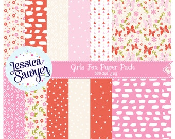 INSTANT DOWNLOAD, girls fox digital papers or woodland backgrounds for crafts and products
