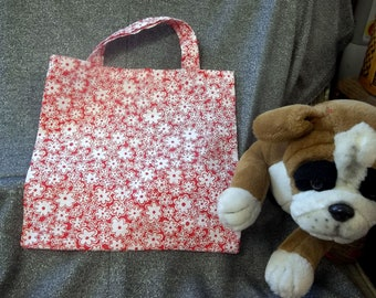 Library Book Lunch Gift Tote Bag, White Flowers on Red Print