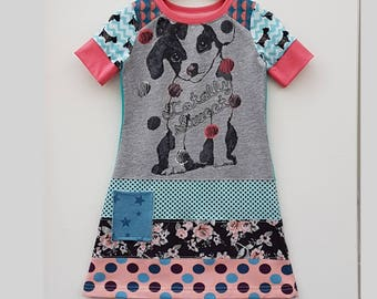 Size 4T upcycled girls puppy dog dress, girls clothing, children's clothing,kidsclothes, kids, girl, girls dress, upcycling, cute