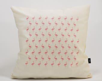 Flamingos! Ivory cushion Cover. cm 50 x 50