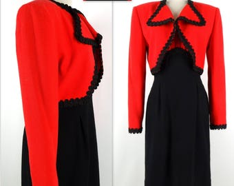 Vintage ALFRED FIANDACA TOO Dress Suit Cropped Jacket 10 Black Red Wool Blend