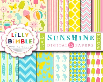 SUNSHINE Beach digital paper with surfboards, seahorses, flip flops, ice cream Summer INSTANT DOWNLOAD