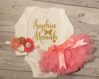 Baby Girl Clothes, Newborn, Hospital Outfit, Baby Girl, Personalized, Outfit, Baby Girl Outfit, Baby Shower Gift, Name, Baby Shirt, Red