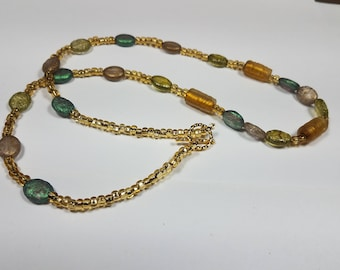glass beaded toggle necklace
